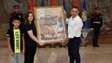 Osnovci iz Rume poklonili Vulinu ručno radjenu ikonu povodom Dana policije (FOTO)
