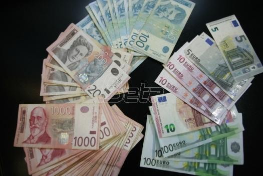 Evro u ponedeljak 123,58 dinara